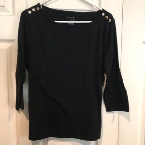 Black 3/4 sleeve boat neck blouse